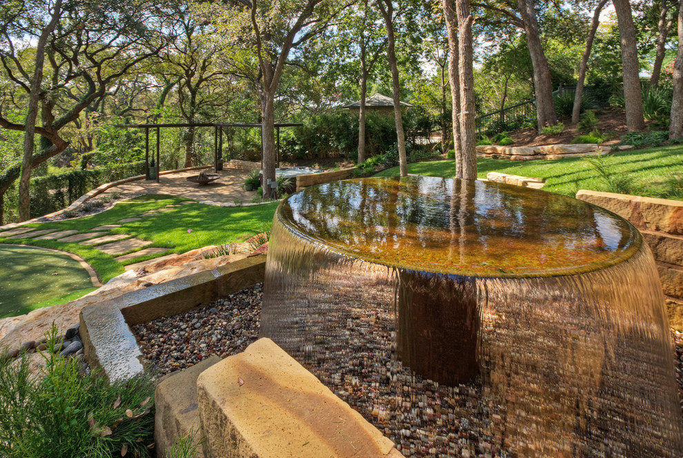 Bird Bath Fountain Landscape Traditional with Arbor Austin Cool Fountain Disappearing Fountain Dry Stack Limestone Wall Fountain Golf