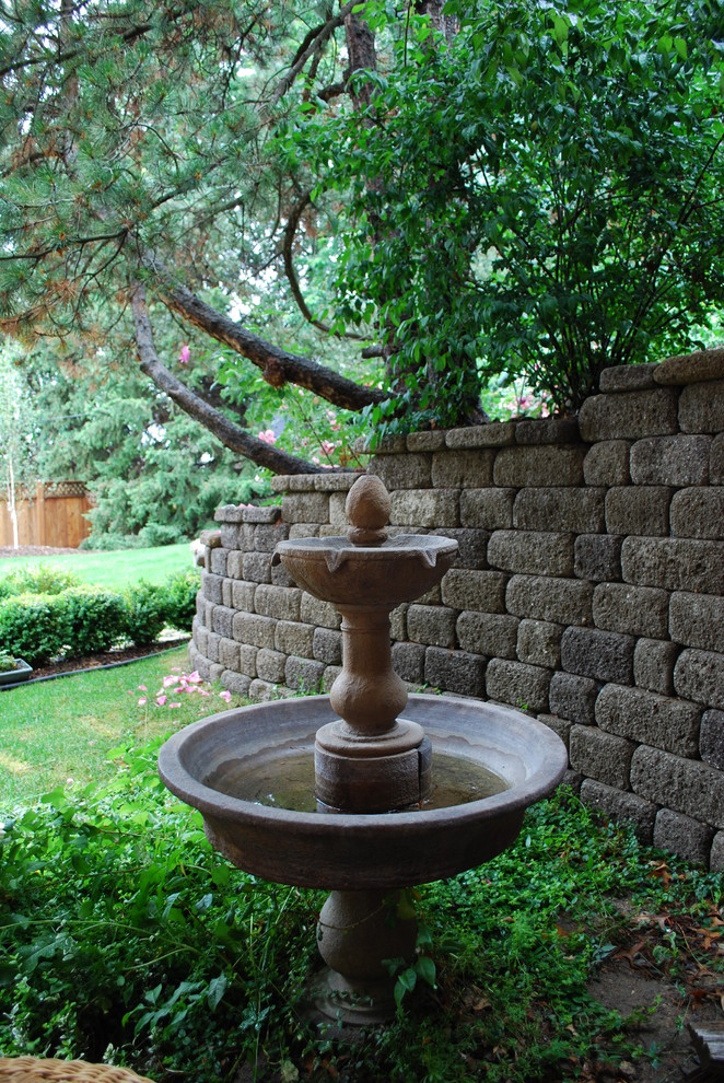 Bird Bath Fountain Landscape Traditional With Fountain Grass Lawn Pine Tree  Rock Stackable Blocks Stone Turf