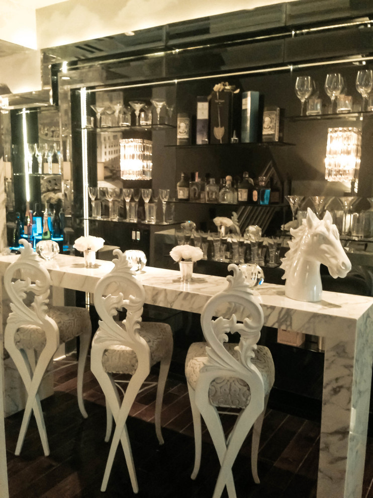 Bistro Chairs Wine Cellar Traditional with Bar Black and White Bright Custom Wallpaper Decorative Glam Horse Iconic Luxury