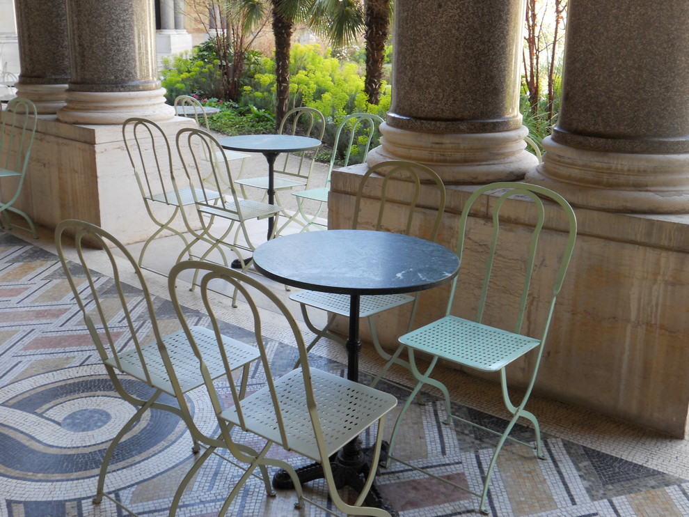 Bistro Tables and Chairs Patio Traditional with Bistro Chairs Cafe Table Courtyard Glass Mosaics Patio Furniture