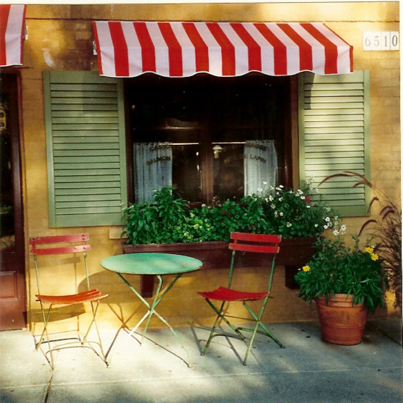 Bistro Tables and Chairs Porch Mediterranean with Bistro Brick California Flower Window Box Green Shutters Red and White Striped