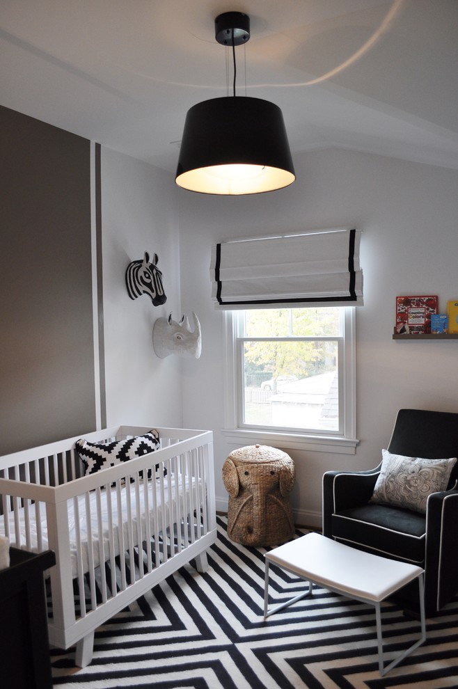 Black and White Striped Rug Kids Transitional with Animal Head Art Animal Heads Black and White Nursery Black and White