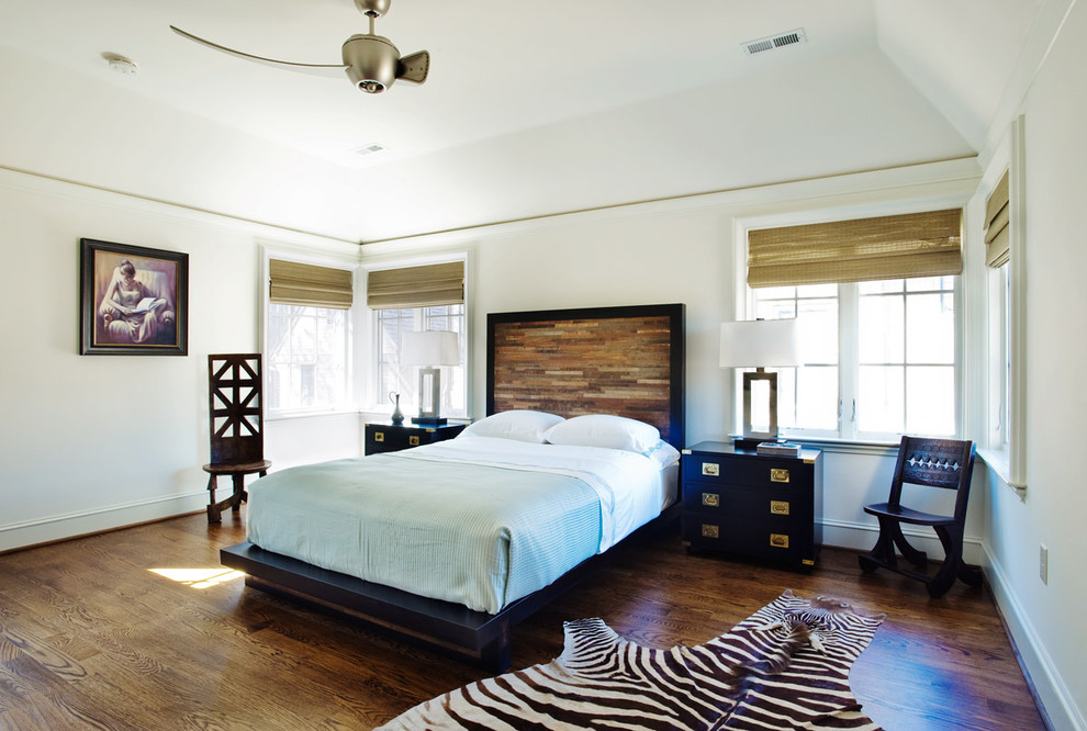 Black Queen Headboard Bedroom Eclectic with Bed Bedding Ceiling Fan Chair Dark Wood Floor French Windows Grass Blinds