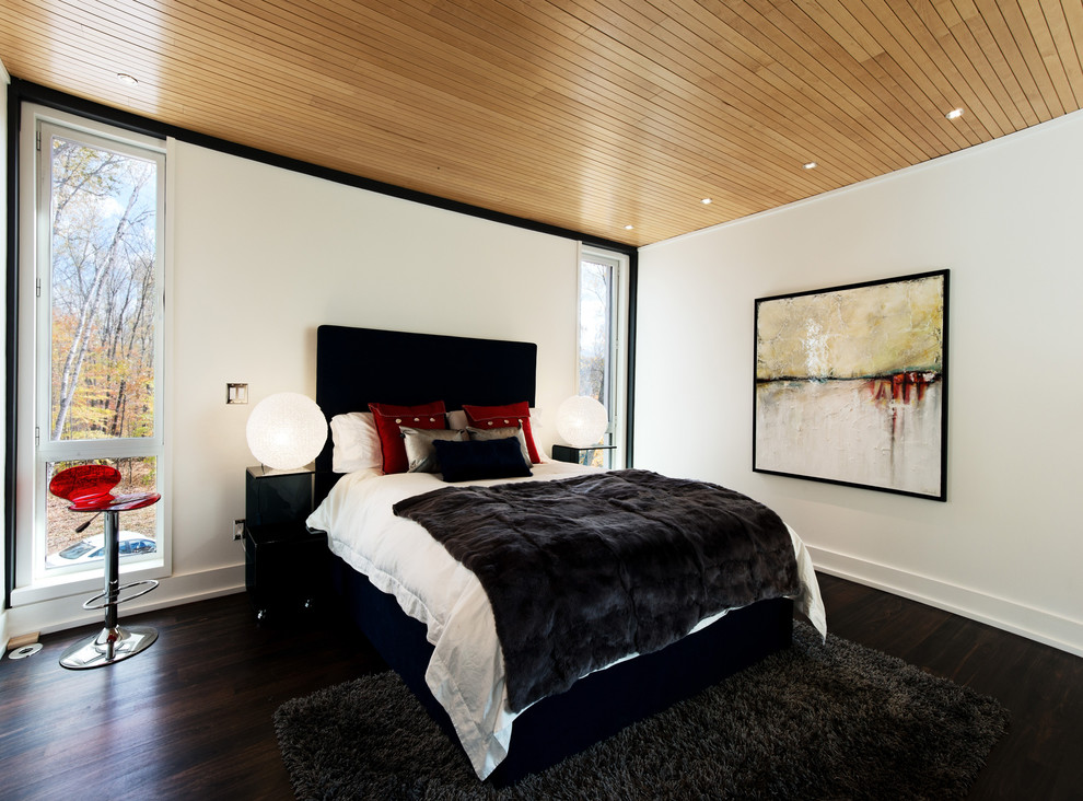 Black Shag Rug Bedroom Contemporary with Architecture Photography Beige Wall Black Art Pedestal Black Nightstand Black Shag Rug