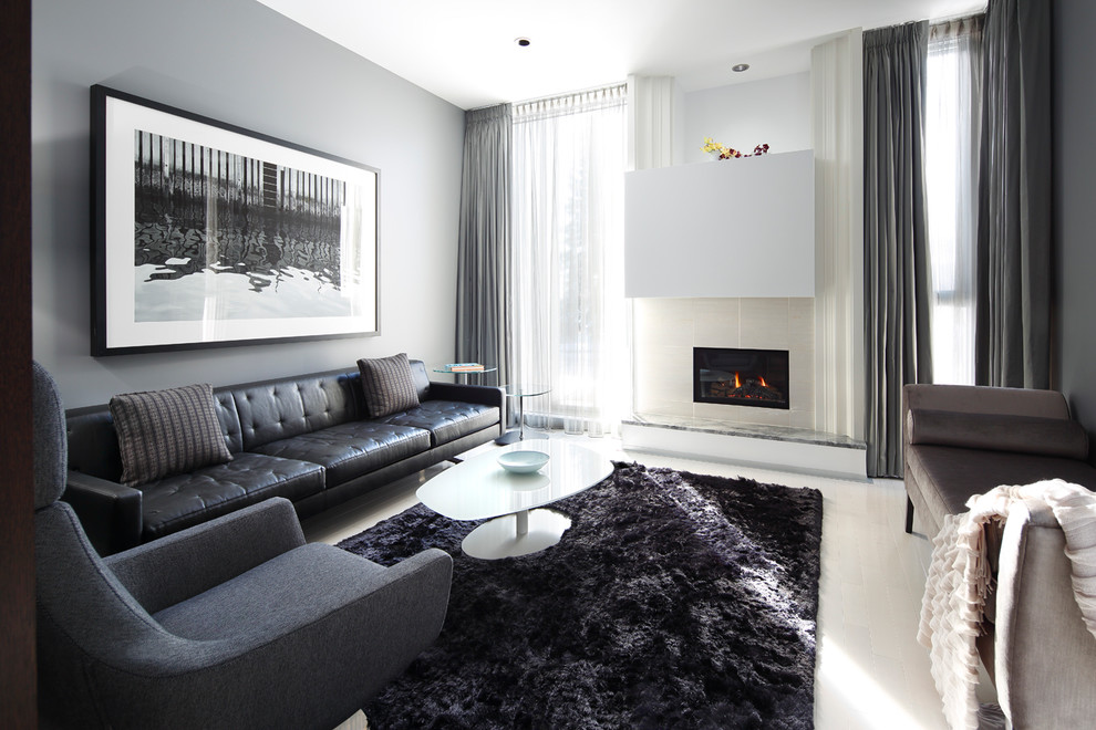 Black Shag Rug Living Room Contemporary with Beige Tile Fireplace Black and White Photography Black Leather Sofa Black Shag