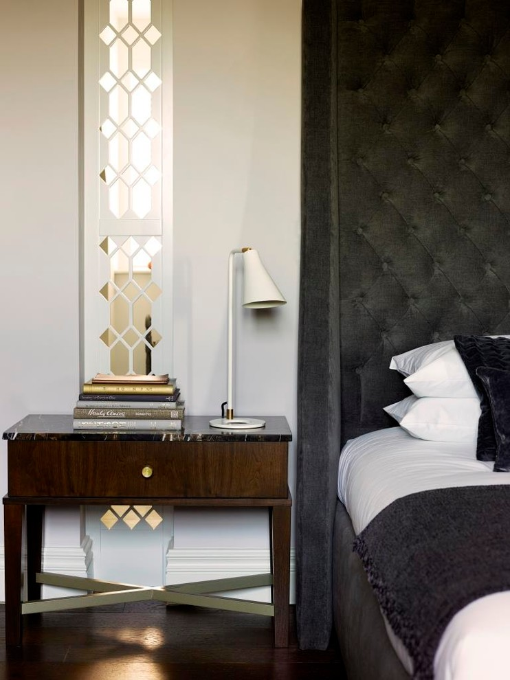 Black Tufted Headboard Bedroom Contemporary with Bedside Table Black Tufted Headboard Mid Century Lamp Mirrored Walls Table Lamp
