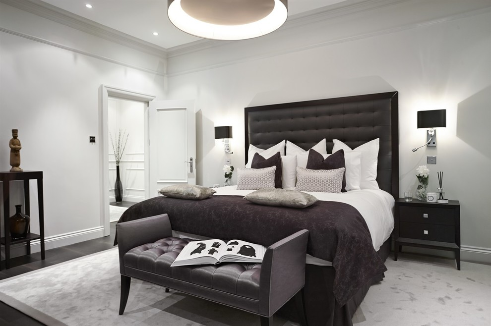 Black Tufted Headboard Bedroom Transitional with Bespoke Black and Grey Bedroom Black and White Black Lamp Shades Black
