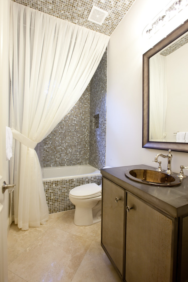 Blackout Curtain Liner Bathroom Contemporary with Curtain Panel Glass Sink Mirror Mosaic Tile Shower Curtain Single Sink Tile