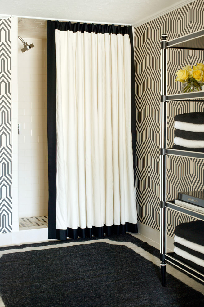 blackout curtain liner Bathroom Transitional with baseboards bathroom rug black and white black and white shower curtains black