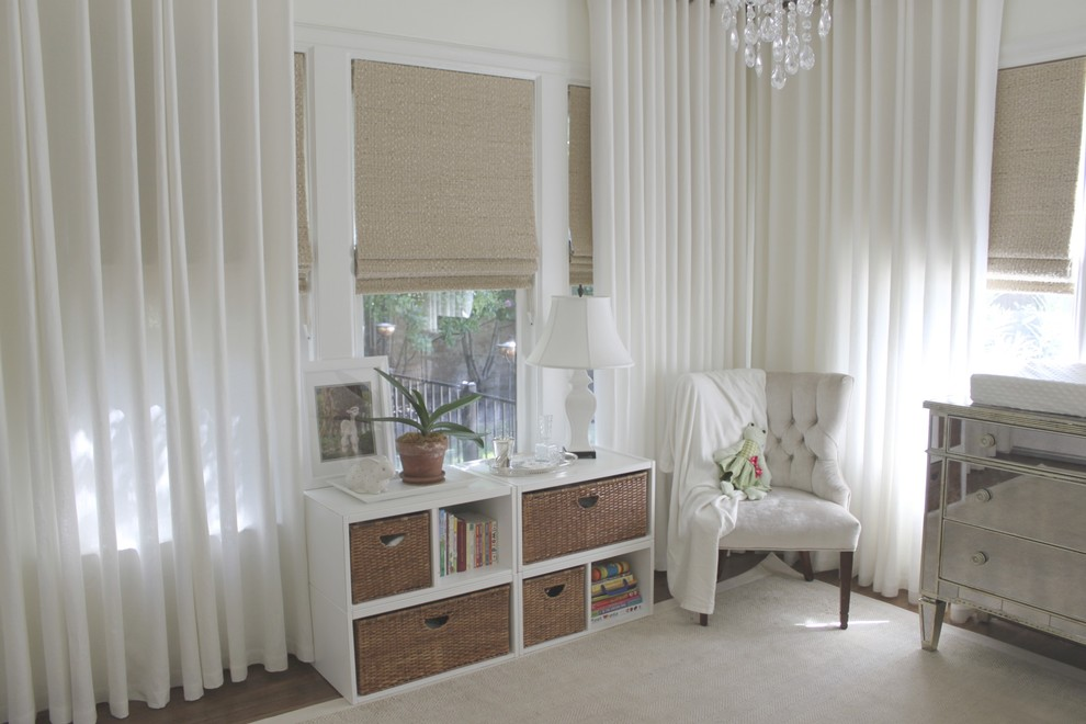 Blackout Curtain Liner Nursery Traditional with Area Rug Bookcase Bookshelves Curtains Drapes Mirrored Furniture Monochromatic Neutral Colors Nursery