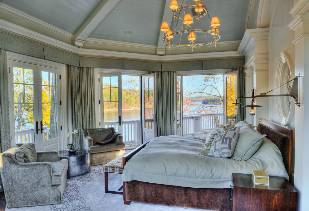 Blackout Drapes Bedroom Beach with Bedside Table Coastal Crown Molding Curtains Drapes French Doors Glass Doors Master