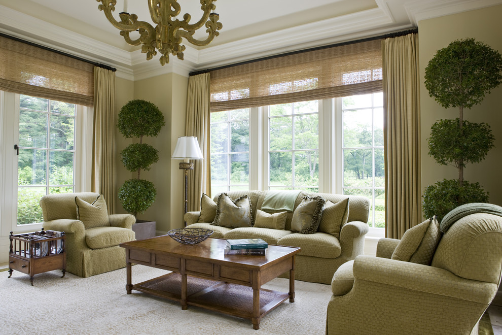 Blackout Drapes Living Room Traditional with Crown Molding Curtains Drapes Houseplants Magazine Rack Monochromatic Natural Shades Neutral Colors