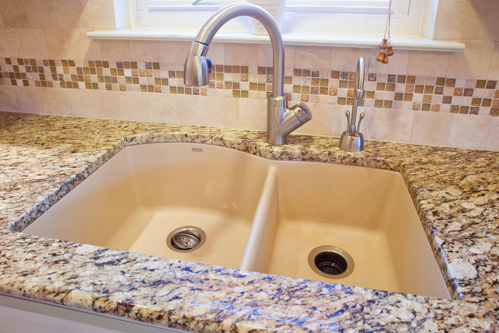 Blanco Silgranit Sink Kitchen Traditional with Appliances Backsplash Countertops Faucets Flooring Granite Kitchen Natural Stone Sinks Tile White