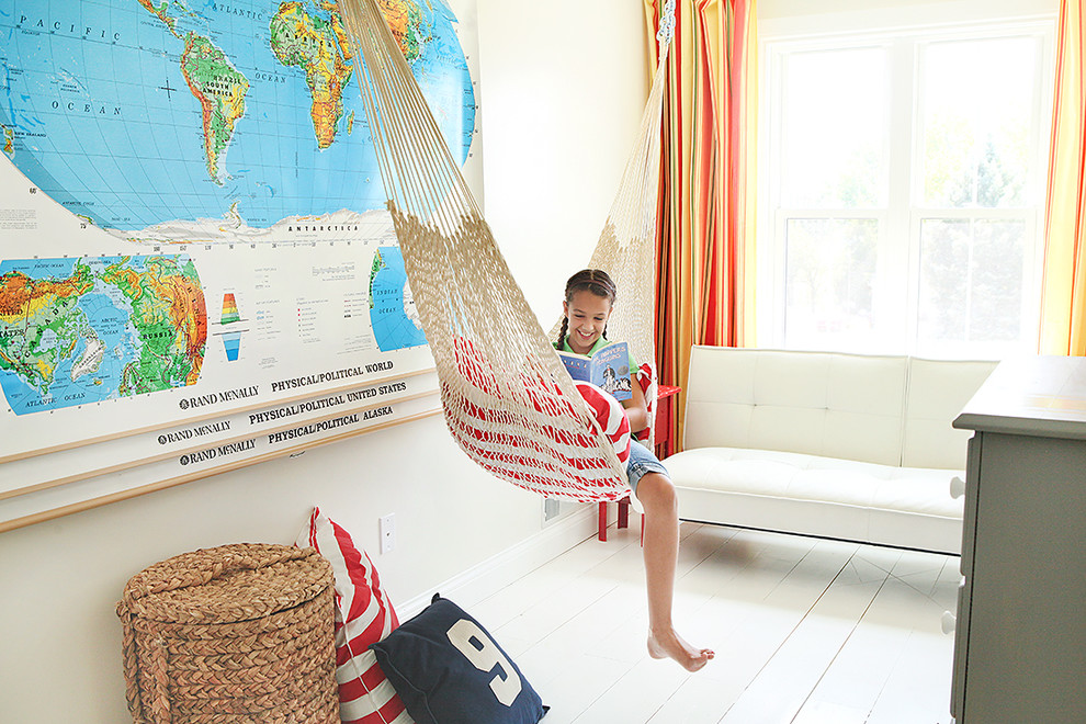 Bliss Hammocks Kids Farmhouse with Dresser Glass Knobs Nautical Striped Curtain Panels Tufted Upholstery Wall Maps White