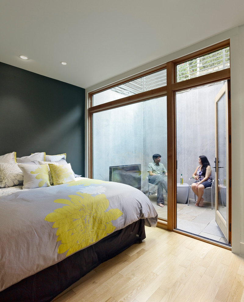 Blissliving Home Bedroom Modern with Floral Floral Duvet Flowers Glass Doors Gray Gray Walls Large Window Light