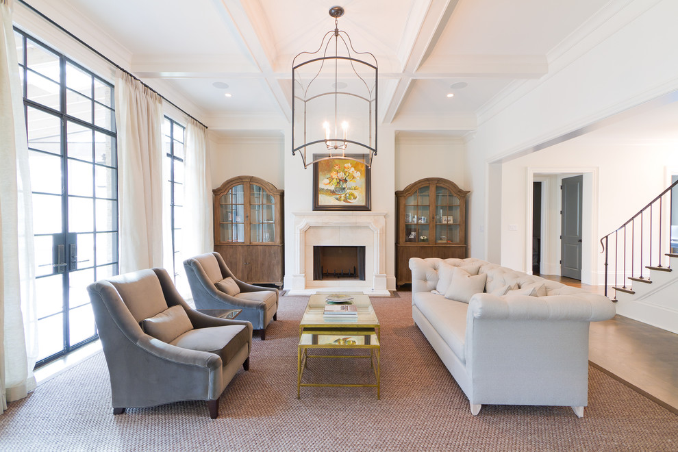 Bob Double Stroller Sale Living Room Transitional with Chesterfield Sofa Coffered Ceiling Couch Fireplace Mantel French Doors Gold Coffee Table