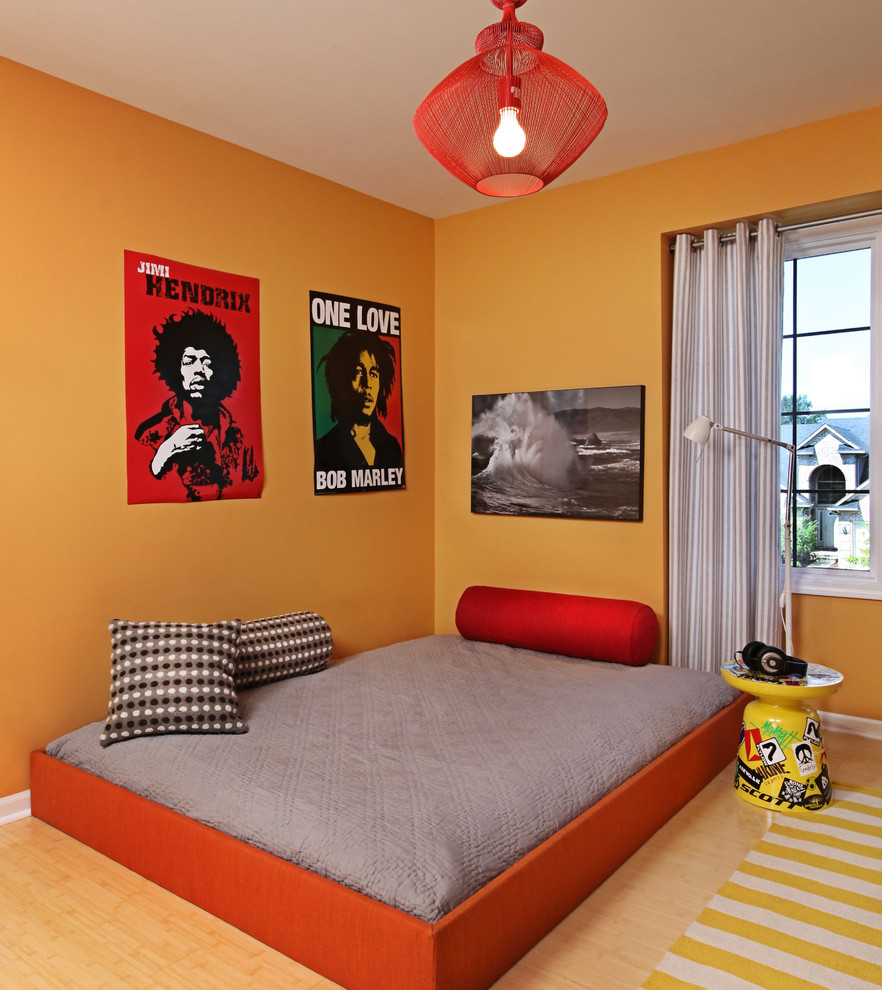 Bob Jogger Kids Contemporary with Gray Bedding Kids Room Light Floors Music Posters Oranges Red Bed Red