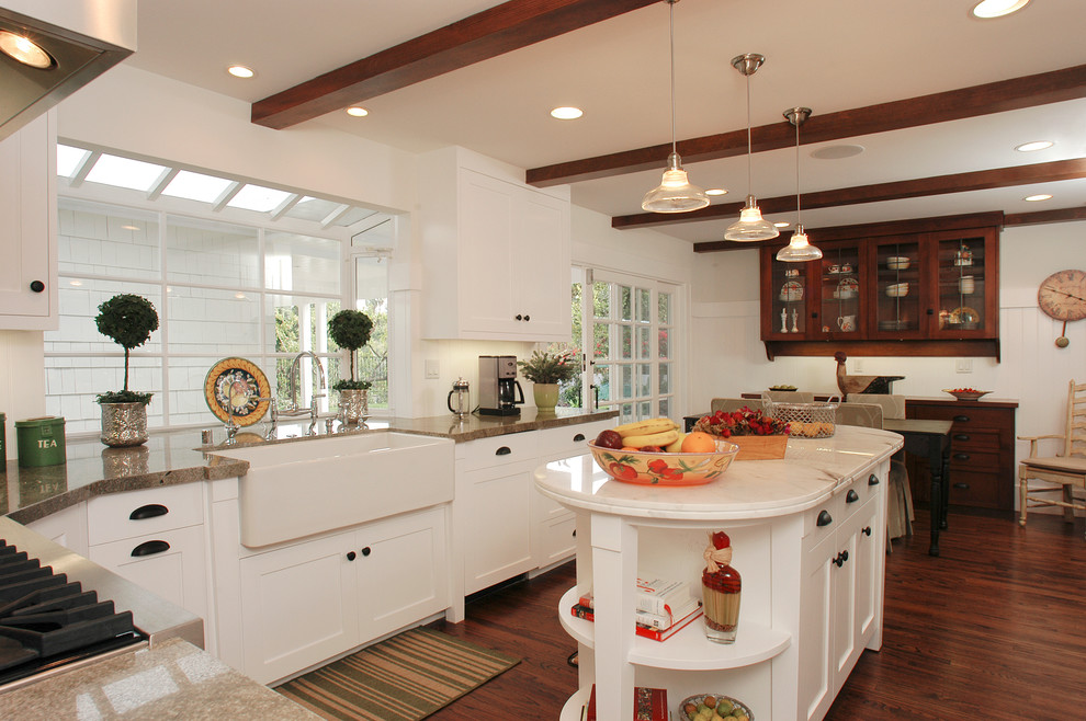bodum chambord Kitchen Traditional with bin pulls bridge faucet cup pulls exposed beams island lighting island storage