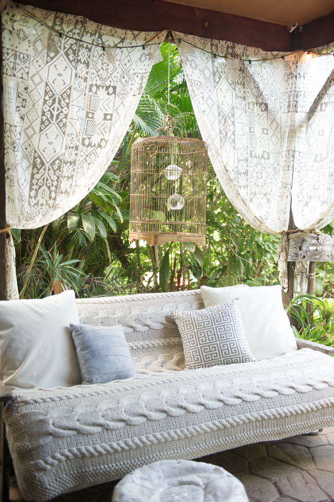 Bohemian Rugs Patio Beach with Birdcage Covered Patio Hawaiian Knitted Throw Layers of Texture Mixed Patterns Muted