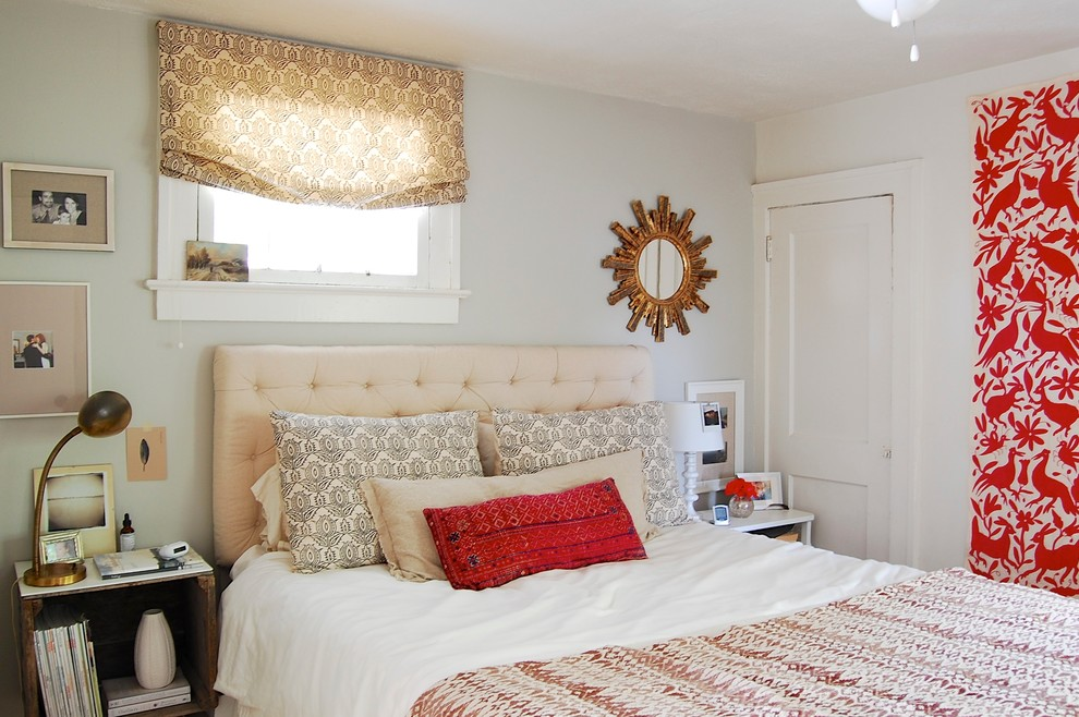 Boho Bedroom Eclectic With Beige Roman Shade Throw Pillow Tufted Headboard Colorful Diy