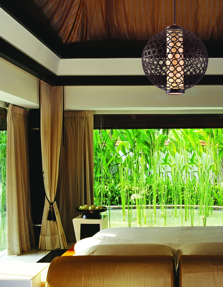 Boho Curtains Bedroom Tropical with Bamboo Curtains Drapes Gold Hanging Lamp Light Fixture Padded Headboard Pendant Light