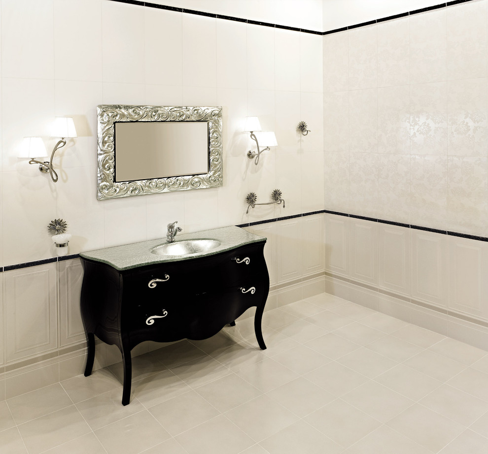 Bombay Chest Bathroom Eclectic with Black and White Black Vanity Curved Vanity Drawer Pulls Floral Pattern Patterns