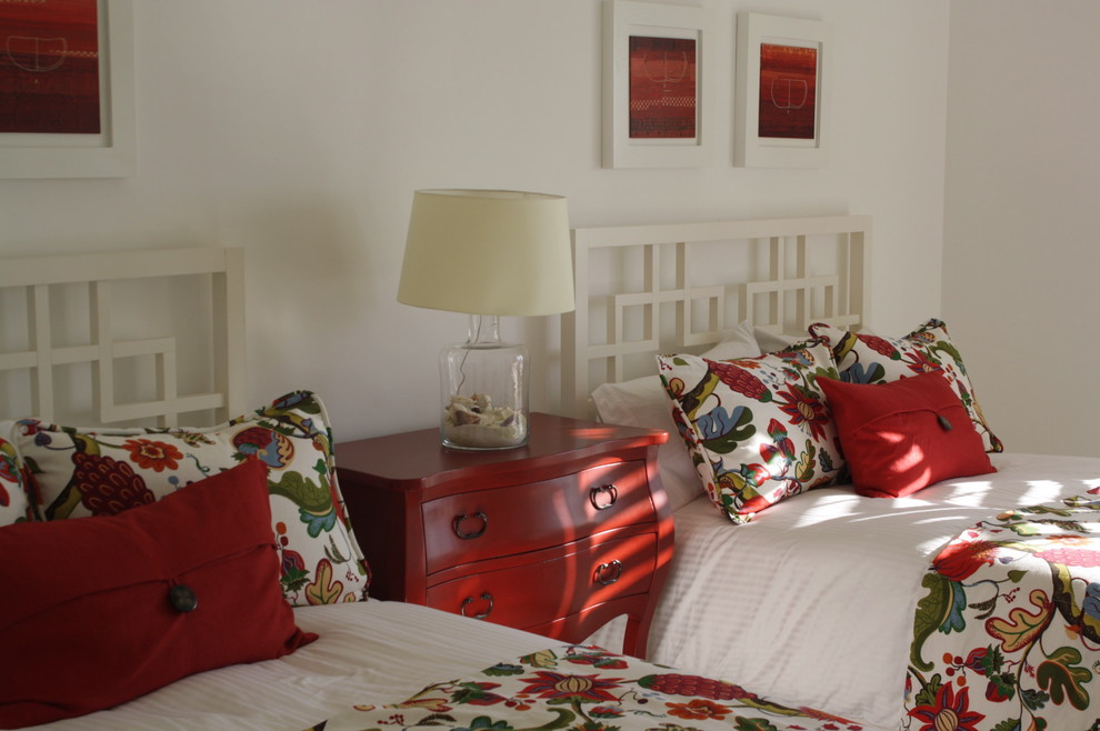 bombay chest Bedroom Tropical with bed pillows bedside table chest of drawers decorative pillows dresser floral bedding