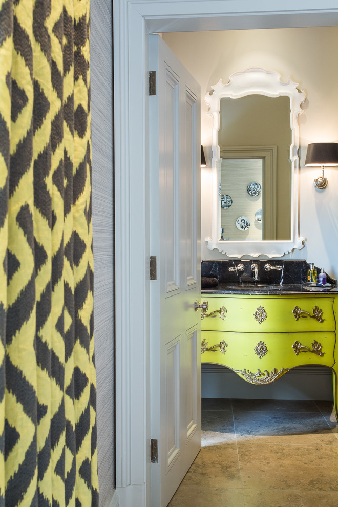 Bombe Chest Bathroom Victorian with Bathroom Doors Black Countertop Brown Floor Tile Cheshire Lime Green Cabinet Wall