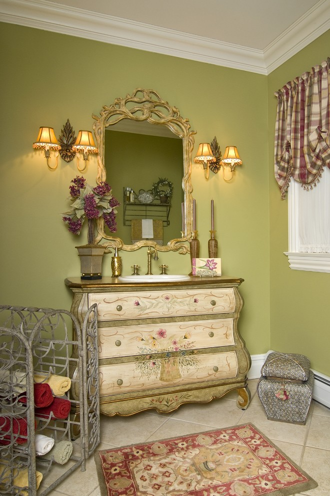 Bombe Chest Powder Room Traditional with Accessories Area Rug Balloon Shades Bombe Chest Chest of Drawers Crown Molding