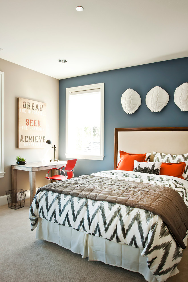 Bone Collector Bedding Bedroom Contemporary with Blue Accent Wall Carpet Chevron Print Ikat Comforter Wall Reliefs White Trim