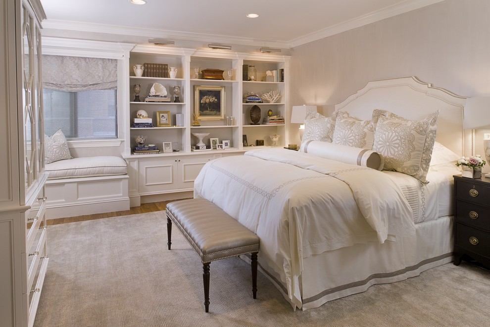 Bone Collector Bedding Bedroom Traditional with Banded Bedskirt Bed Skirt Bookcase Built Ins Custom Bedding Dark Wood Nightstand