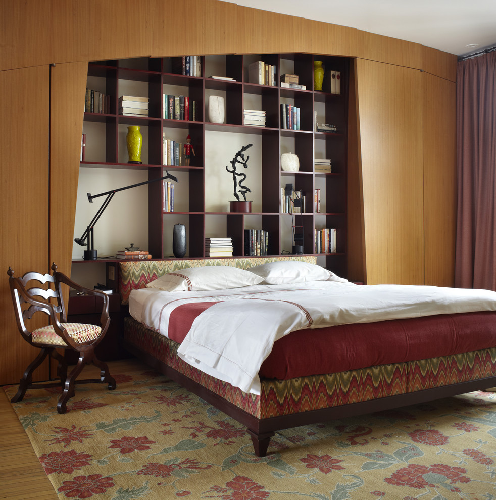 Bookcase Headboard Bedroom Contemporary with Area Rug Arm Chair Built in Bookshelf Custom Woodwork Low Profile Bed