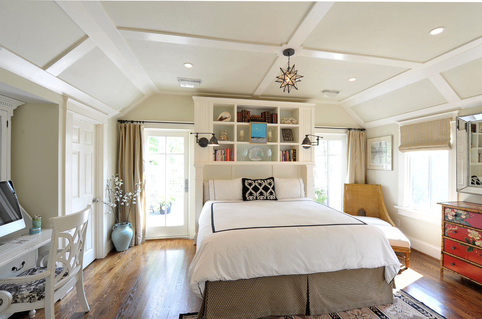 Bookcase Headboard Bedroom Transitional with Alcove Beige Walls Black Reading Light Bookshelves Brown Bed Skirt Built In
