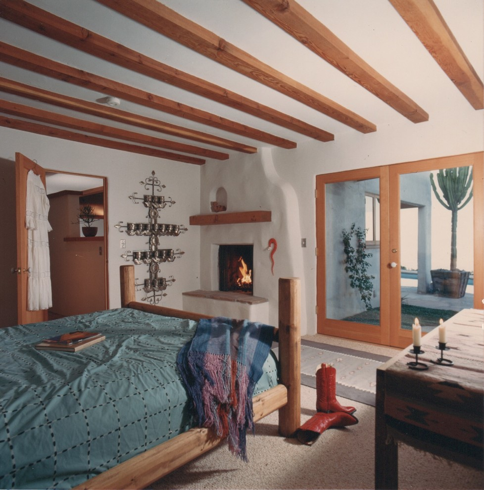 Bookcase Headboard Queen Bedroom Eclectic with Bedroom Carpet City View Fireplace Fireplace in Bedroom Laurel Canyon Santa Fe