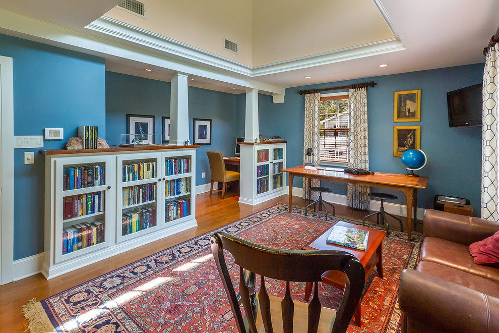 Bookcase with Glass Doors Home Office Traditional with Area Rug Baseboard Blinds Blue Blue Walls Bookshelves Curtain Panels Custom Bookcases