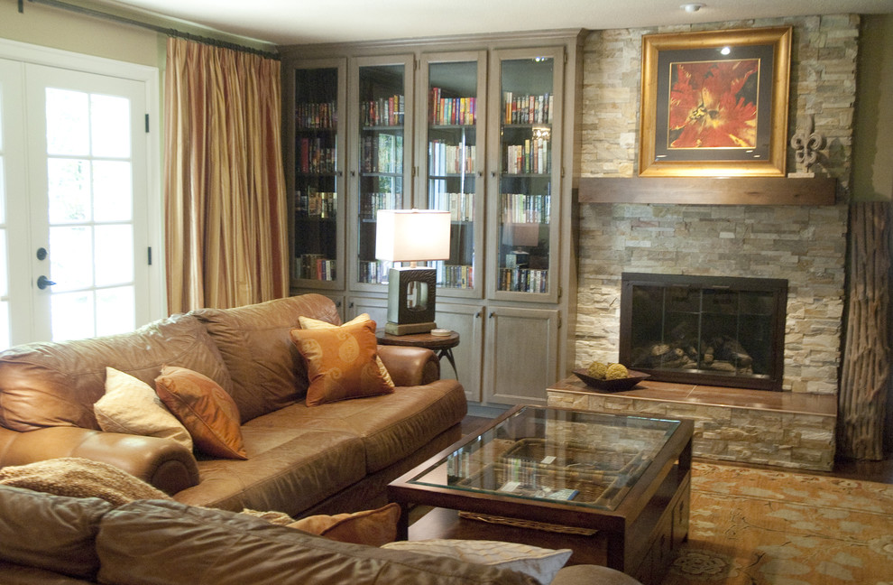 Bookcase with Glass Doors Living Room Traditional with None