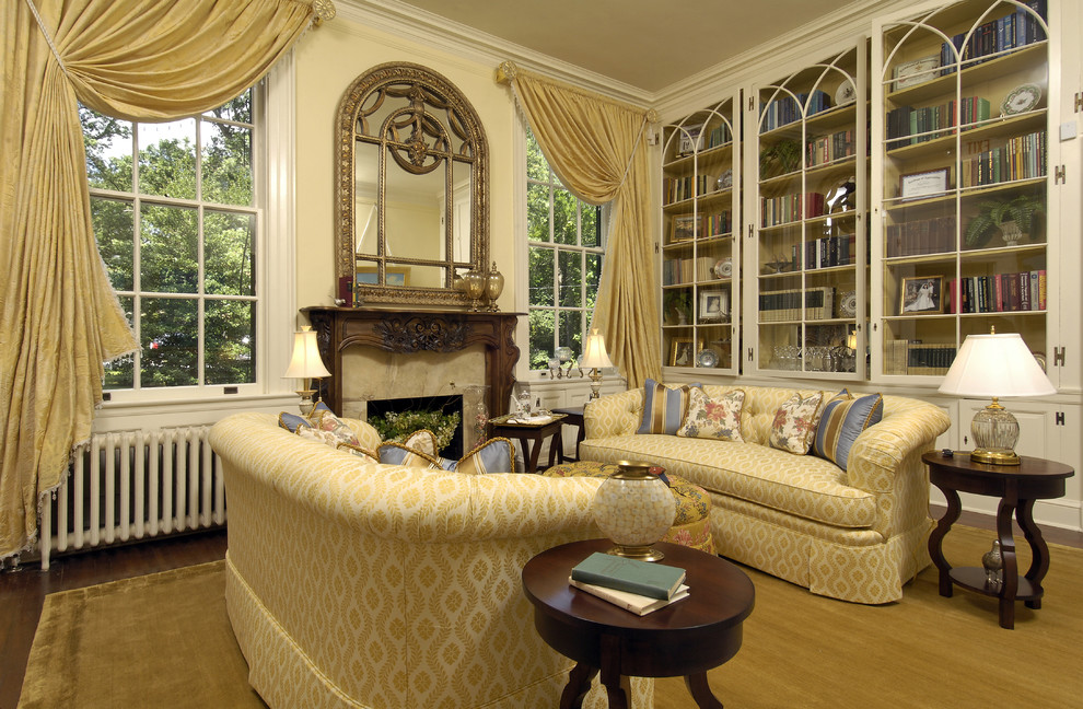 Bookcases with Glass Doors Living Room Traditional with Drapes Glass Bookshelves Gold Mantle Mirror Symmetry