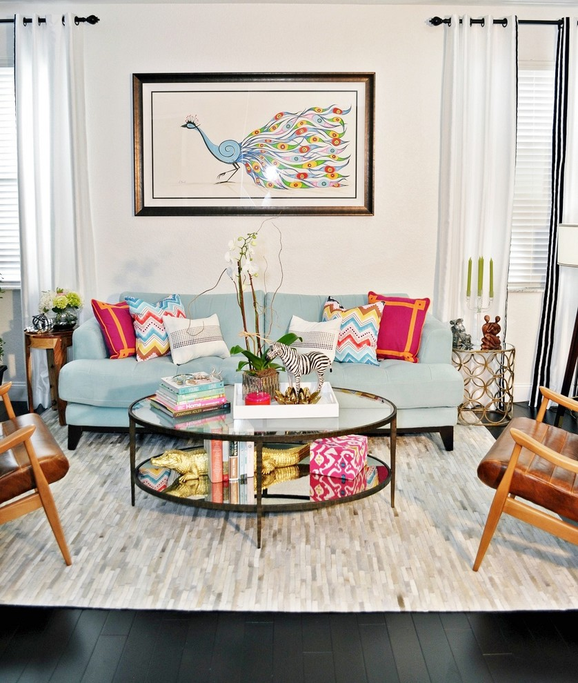 Bookend Living Room Contemporary with Area Rug Black Hardwood Floors Blue Chair Blue Sofa Colorful Contemporary Design