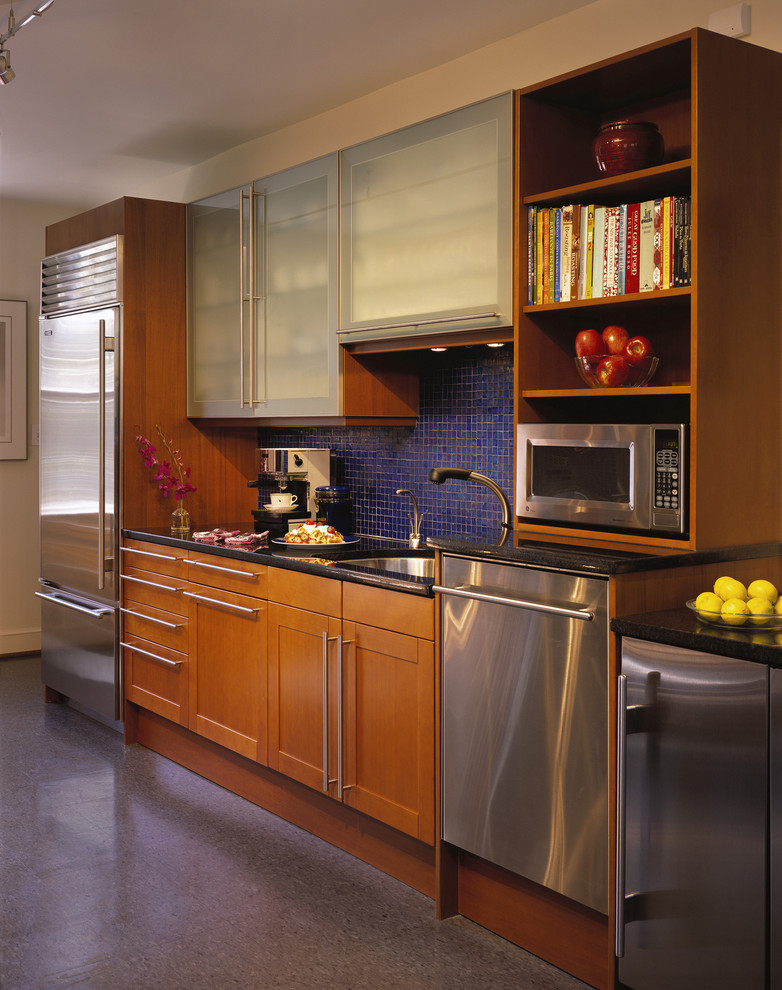 Bosch Universal Mixer Kitchen Modern with Blue Tile Frosted Glass Doors Mosaic Tile Open Shelves Open Storage Stainless