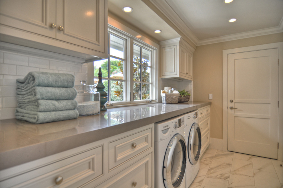 Bosch Universal Mixer Laundry Room Beach with Built in Storage Ceiling Lighting Front Load Washer and Dryer Monochromatic Neutral