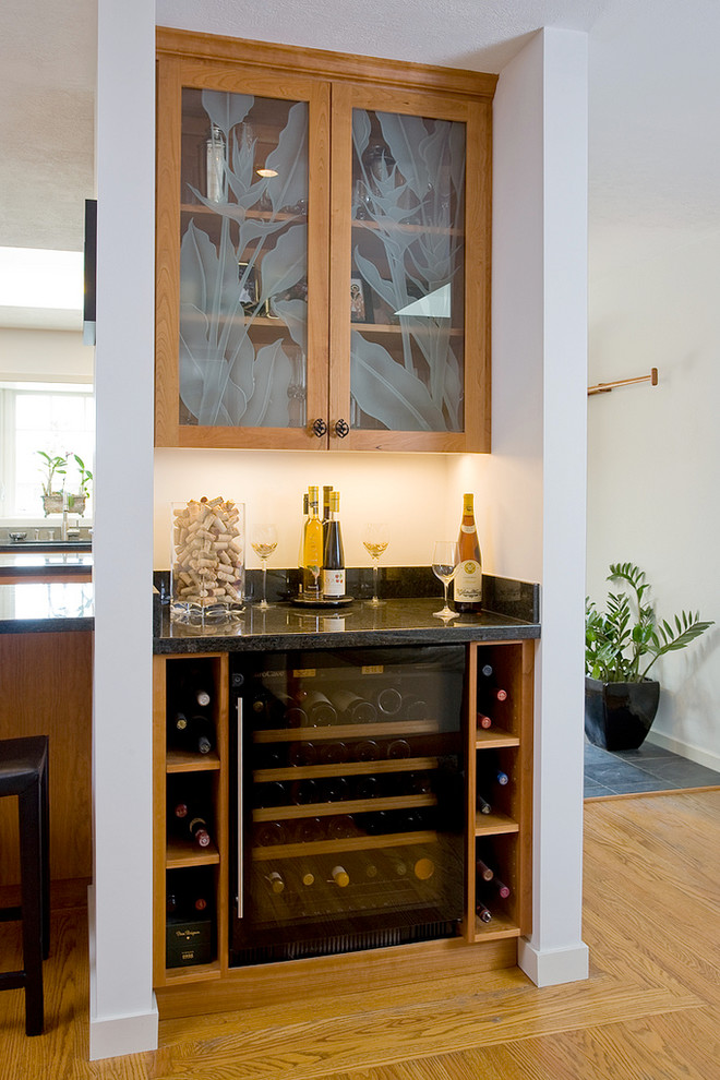 Bottom Load Water Cooler Kitchen Transitional with Black Granite Counter Top Cherry Frameless Cabinets Decorative Wine Corks Etched Glass Cabinet