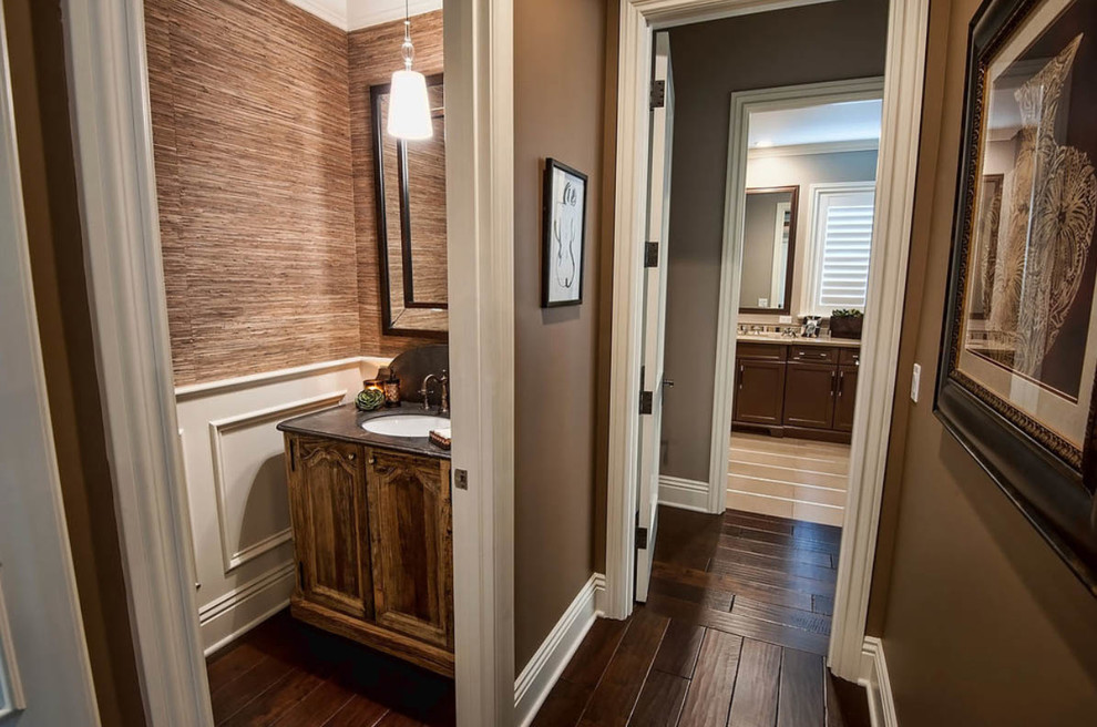 Boxwood Topiary Bathroom Traditional with Dark Wood Flooring Dark Wood Floors Laminate Staircase Wood Floors