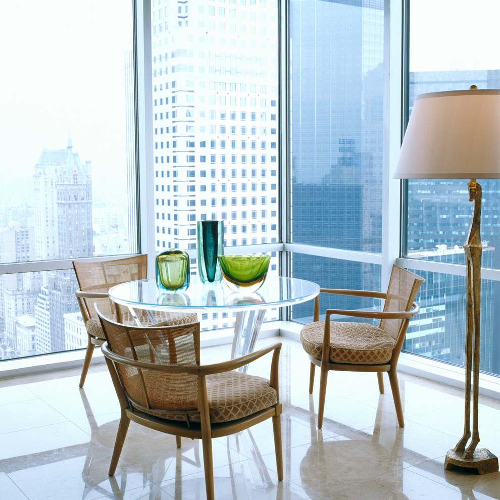 Boxwood Topiary Dining Room Contemporary with Acrylic Tables Dining Chairs Floor Lamps