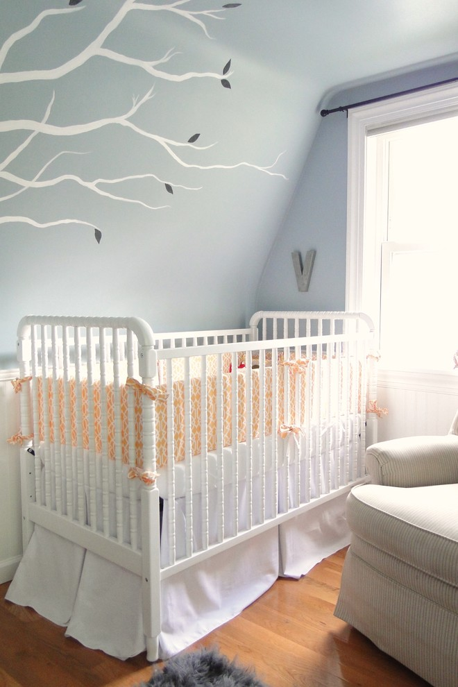 Boy Crib Bedding Sets Nursery Contemporary with Blue Walls Crib Bedding Crib Bumper Nursery Sloped Ceiling Tree Mural Wall
