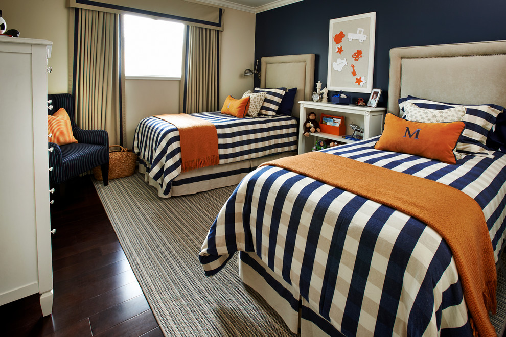 Boys Comforter Sets Kids Traditional with Area Rug Armchair Bed Skirt Beige Wall Boys Room Bulletin Board Cornice
