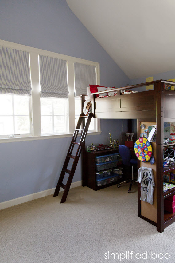 Boys Loft Bed Kids Traditional with Attic Bedroom Attic Room Blue Walls Boys Bedroom Loft Bed and Desk