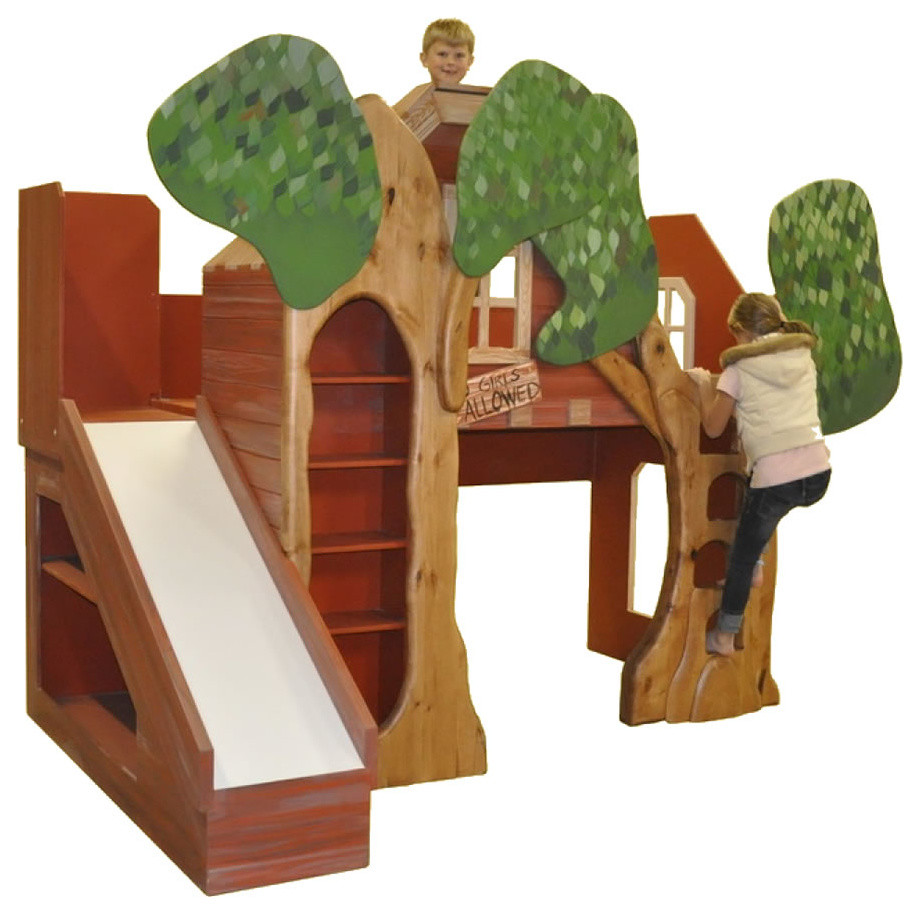 Boys Loft Bed Kids Traditional with Bed with Custom Faux Painting Bed with Play Area Bed with Play