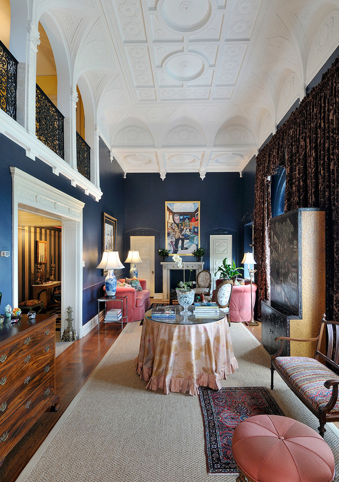 Brainerd Hardware Living Room Traditional with Arches Ceiling Detail Dark Blue Walls High Ceiling Metal Railing Narrow Room