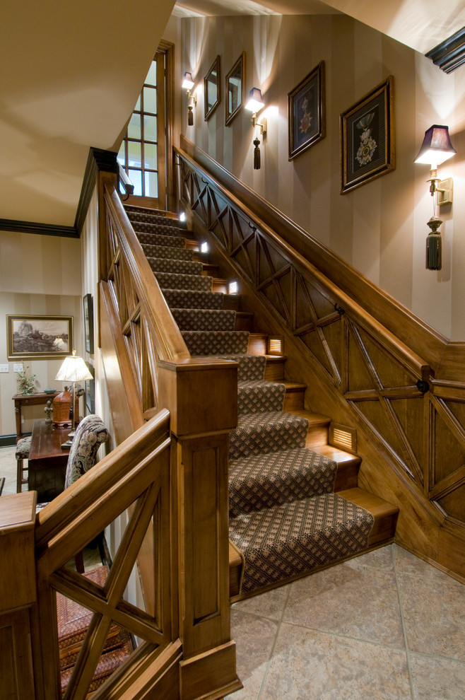 Brainerd Hardware Staircase Traditional with Artwork Above Stairs Carpet Runner Framed Artwork Medium Wood Stair Lighting Stair