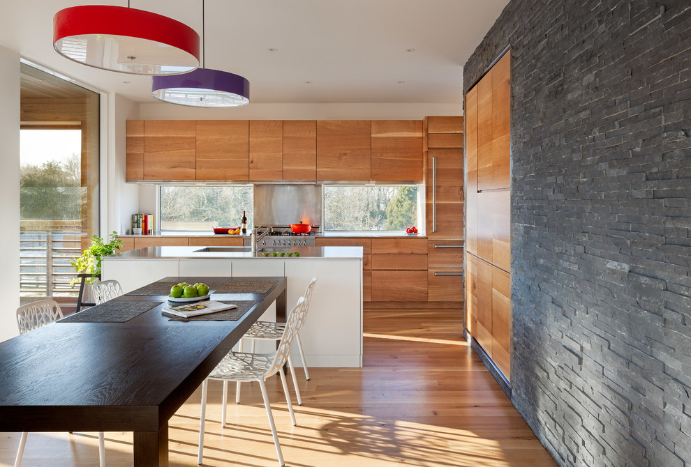 Braiser Kitchen Contemporary with Black Table Cabinet Cedar Charcoal Shadowstone Colorful Pendant Dark Stacked Stone Eat In